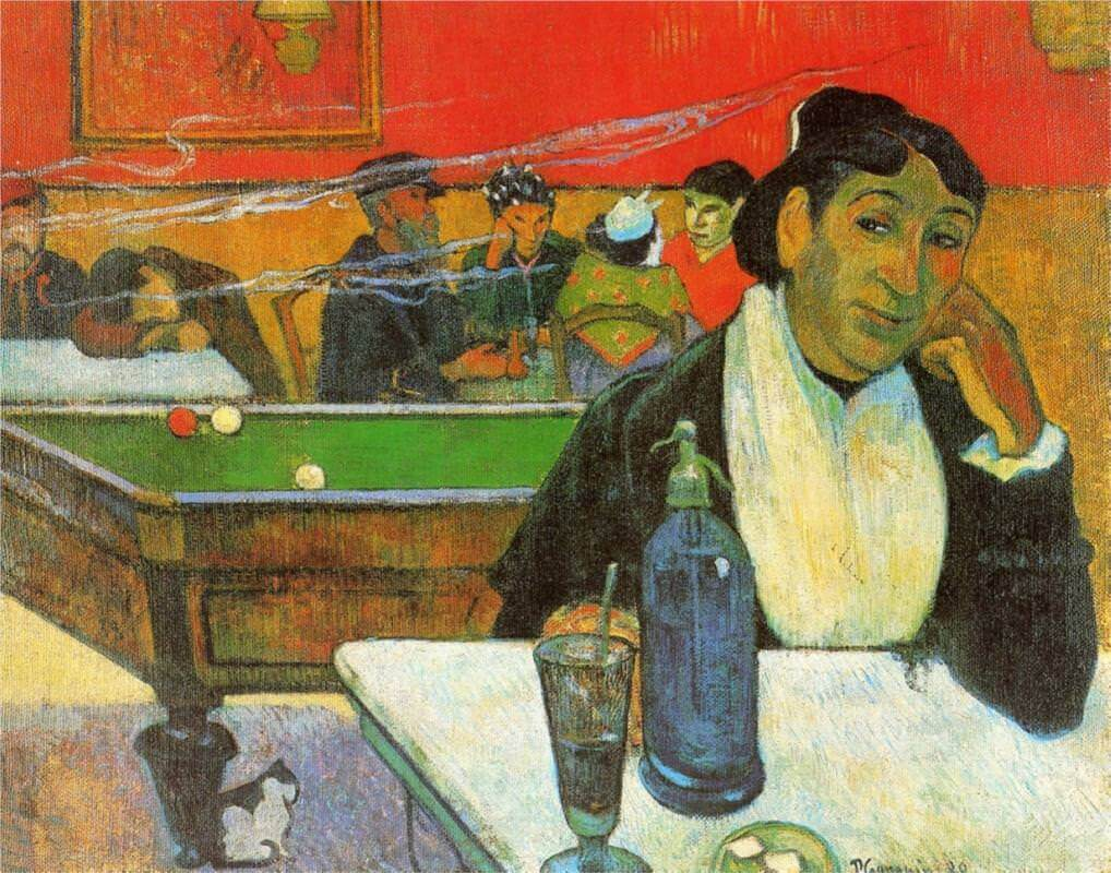 Night cafe in arles madame ginoux 1888 - by Paul Gauguin