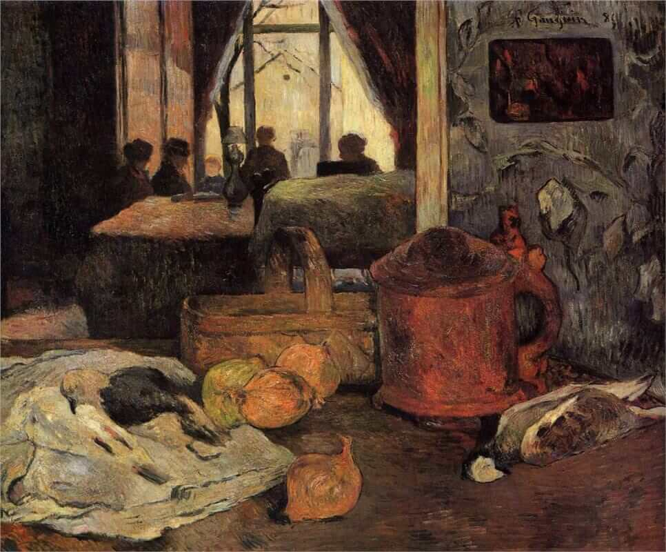 Still life of onions and pigeons and room interior in copenhagen 1885 - by Paul Gauguin